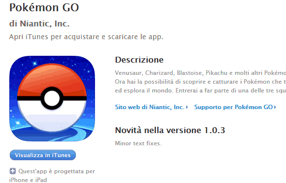 dove scaricare pokemon go IOS Android