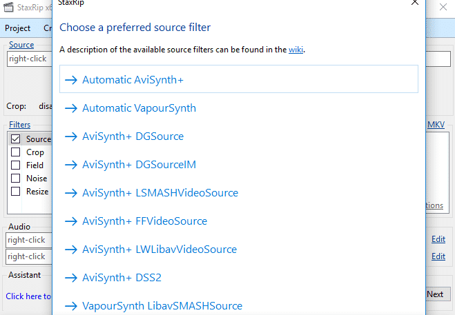 importazione video in staxrip