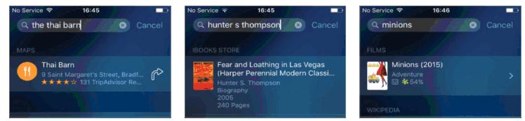 Spotlight finding app web info IOS9 Iphone 6S