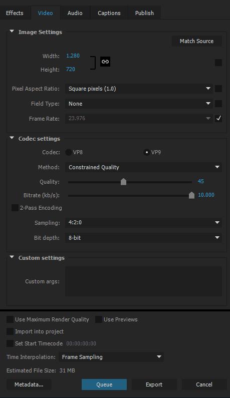 esportare webm vp9 da Adobe Premiere