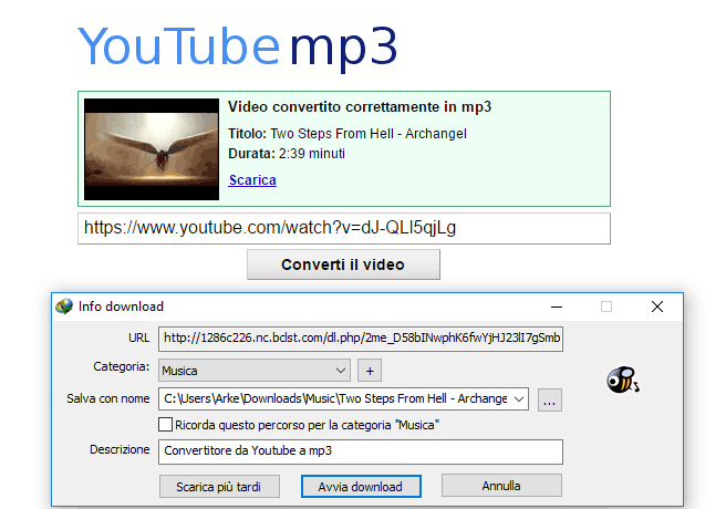 video convertito in mp3 pronto da scaricare