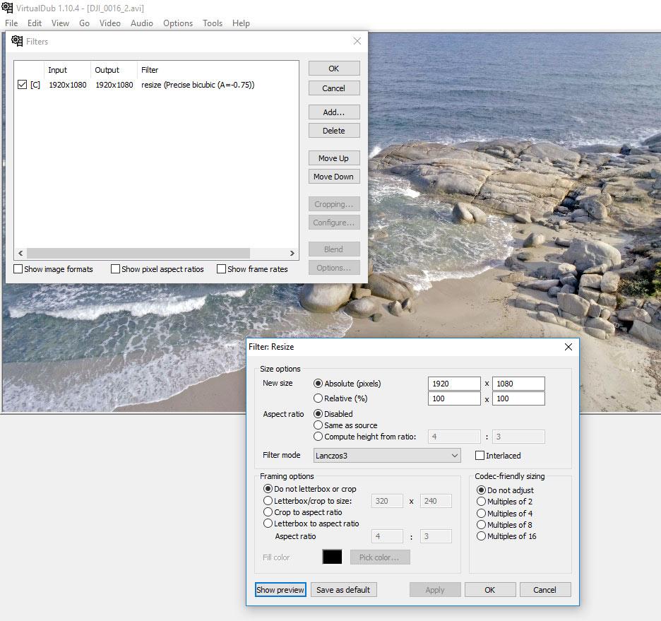 virtualdub resize h265 phantom 4 pro