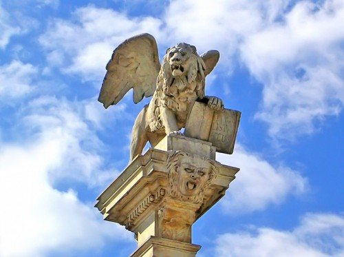 The winged lion symbol of St Mark in Venice Italy